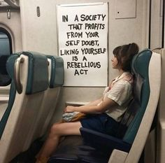 """In a society that profits from your self doubt, liking yourself is a rebellious act"" - Public Art - DIRT WORSHIP - by Caroline Caldwell The Words, Action For Happiness, Happiness Quotes, Quotes To Live By, Me Quotes, Story Quotes, Quotes Images, Poetry Quotes, Funny Quotes"