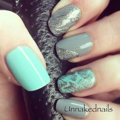 grey and mint nails