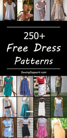 Lots of free dress patterns for women. #dresspatterns #diyclothes #diydress