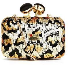 Moschino Sequin Leopard Print Clutch Bag