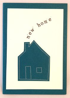 Handmade Stitched Personalised 'New Home' Card by NaisyHomemade Pretty Cards, Love Cards, Card Crafts, Paper Crafts, Congratulations New Home, Pinterest Cards, Sewing Crafts, Sewing Projects, New Home Cards