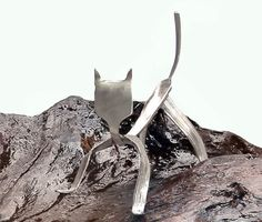 Add A Cat To Your Wind Chime. Recycled Flatware by NevaStarr