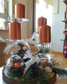 With a few old wine glasses you can create a beautiful decoration for . - table ideas - With a few old wine glasses you create a beautiful decoration for With a few old wine glasses you c - Candle Centerpieces, Centerpiece Decorations, Decoration Table, Noel Christmas, Christmas Wreaths, Christmas Crafts, Christmas Ornaments, Advent Wreaths, Nordic Christmas