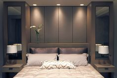 Built-In Bed with Upholstered Panels modern-bedroom