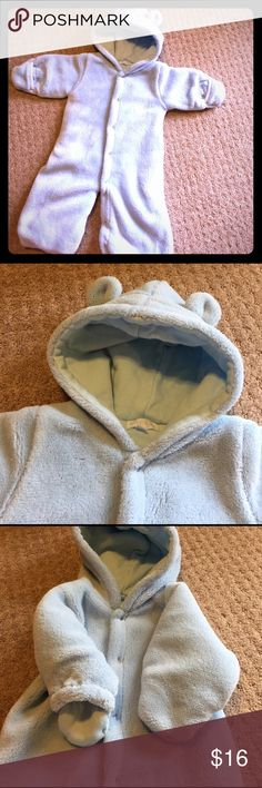 Very soft blue full body coat with hood Le top baby Very soft footed light blue one piece coat. Arms are adjustable to close up hands or keep them open. Bear ears on top of attached hood. Snaps up front and inseam. Great condition! Le Top Jackets & Coats