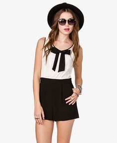 Chiffon Bow Lace Romper | FOREVER21 - 2026299251