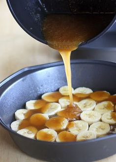 Banana Coconut Caramel Upside-Down Cake (and uses a boxed cake mix) yuummmm but without the coconut!