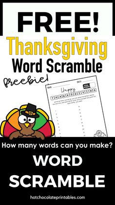 Have your students use this printable free worksheet to spell and record as many words as they can using the letters in the words Happy Thanksgiving
