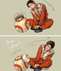 This was unexpectedly cute. Poe & BB-8.