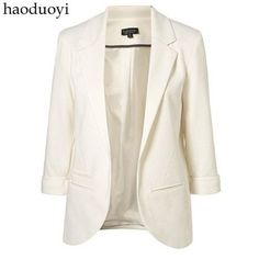 New Womens Fashion Suit Coat Candy Color Seventh Volume Sleeve Jacket Blazer Outwear 6 Colors