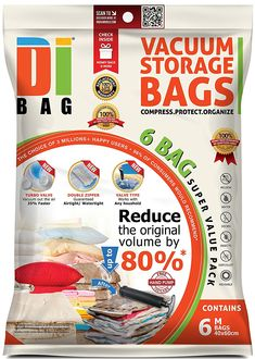 DIBAG ® 2 Bags Pack cm) Vacuum Compressed Storage Space Saver Bags for Clothing, Duvets, Bedding, Pillows, Curtains & More. Storage Bags For Clothes, Vacuum Storage Bags, Vacuum Bags, Clothing Storage, Bag Storage, Storage Organization, Storage Spaces, Storage Boxes, Storage For Rent