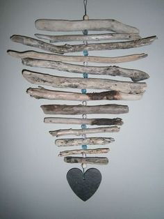 BEACH DRIFTWOOD- HANGING MOBILE-HANDMADE WITH DRIFTWOOD & SLATE....