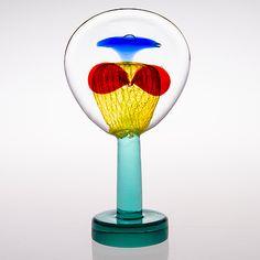 """OIVA TOIKKA, LASIVEISTOS, """"Lollipop"""", signeerattu Oiva Toikka, Nuutajärvi 2004, 114/200. Wine Glass, Glass Art, Art File, Finland, Scandinavian, Objects, Birds, Nature, Artist"""