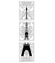 Paris Eiffel Tower Art Print Set   French Damask by RizzleandRugee, $42.00