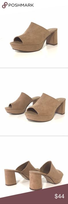 Bamboo Camel Mules Trendy mules in a faux suede material and camel color. Tan family. Medium width a d true to size. Bamboo Shoes Mules & Clogs #sandalsheelswedge