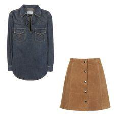 Pin for Later: 13 coole Outfit-Alternativen zum Dirndl Look 3: Ein Jeans-Shirt mit Rock aus Wildleder Saint Laurent Jeansbluse mit Lederschnürung (ursprünglich 490 €, jetzt 343 €) Topshop Rock aus Wildleder mit Knopfleiste (103 €)