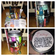 """PAMPER YOURSELF JAR. Contents: face mask, foot spa, Biore nose strips, nail polish remover pads, body spray, mascara, lip gloss, Chapstick, glitter nail polish, solid nail polish, lotion, nail file, manicure set, eyeshadow, and gift card (movies, dinner or ice cream). Poem I made up says, """"Here is a little something to brighten your day. You are absolutely beautiful in every single way. Color your nails. Make yourself smile. It's wonderful to feel gorgeous once in a while. You deserve it."""""""
