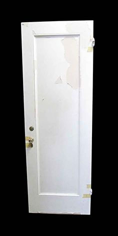 Left swing white painted single panel wooden privacy door. There is some damage on the bottom. Please see photos.
