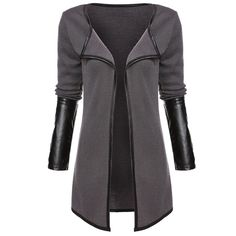Cheap women jacket coat, Buy Quality jacket women coat directly from China jacket coat Suppliers: Autumn Jacket Women Coat 2017 Knitted Cardigan Tops Full Sleeve Faux Leather Patchwork Open Stitch Casual Women's Jackets Coats Cardigans For Women, Coats For Women, Jackets For Women, Clothes For Women, Women's Cardigans, Fashion Hashtags, Fall Jackets, Women's Jackets, Sweaters And Jeans
