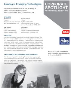 Corporate Spotlight Networking Reception | CSC and Washington Black MBA Association. ICT Topics: Cyber, STEM, Small Business Inclusion, and Entrepreneurship