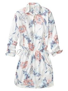 Floral drawstring shirtdress - $25!!!!!