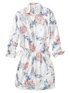 Floral drawstring shirtdress - $25!!!!!