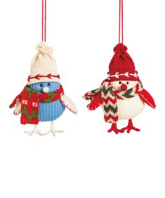 Chilly Fabric Bird Ornament - Set of Two