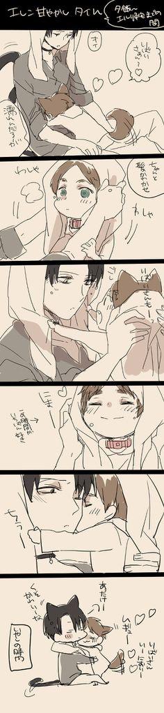 Neko Levi and puppy Eren // AoT