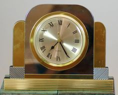 Vintage 1970s Art Deco Style Chrome And Brass Desk Clock #ArtDeco