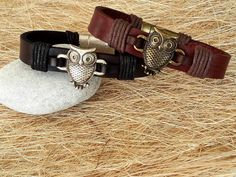 Spiritual Bronze Owl Leather  Mens Womens Bracelet by CanLeather