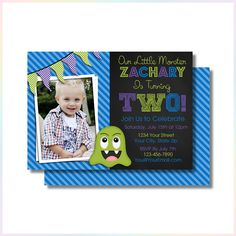 Personalized Printable Invitations | Little Monsters | Birthday