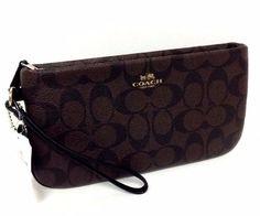 COACH Wristlet Wallet Pocketbook Purse Signature C Brown organizer  65748 NWT  | eBay