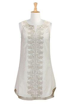 #Paisley #embellished #seersucker #stripedress #eShakti #cream #sleeveless #summerchic #shirttail #breezy