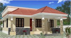 Floor Plan for 70 Sqm House Bungalow. Awesome Floor Plan for 70 Sqm House Bungalow. House Floor Planhouse Floor Plan T Kerala House Design, Country House Design, House Front Design, Small House Design, Cool House Designs, Roof Design, House Front Porch, Porch House Plans, Bedroom House Plans