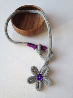 Statement Gray Wool Necklace with Flower by CoffeeBeadTrail, $33.00