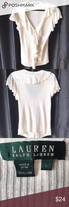 "RALPH LAUREN ribbed ruffle neck shirt large Very nice linen top with a ruffle neckline for any season. Can be worn alone during spring and summer, or with layers during fall and winter. Great for work or weekend. In good condition.  Pit to pit 17"" Sleeve length 6"" Length 26"" Shoulder width 15"" Ralph Lauren Tops Blouses"