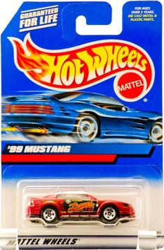 2000 - Mattel - Hot Wheels - Collector #098 - '99 Mustang - (Ford) - Metallic Red - 5 Spoke Wheels - Lesser 420 Racing Graphics - New - Out of Production - Limited Edition - Collectible Hot Wheels http://www.amazon.com/dp/B009EDNGLO/ref=cm_sw_r_pi_dp_DZgMwb036ECMS