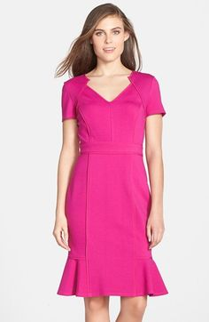 I like this dress in Black or Slate Gray - but for some reason the photo that has pinned is hot pink. Found on Nordstrom's site. Nue by Shani Satin Trim Ponte Tulip Hem Dress available at #Nordstrom