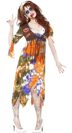Zombie 60s Hippie Lady Costume | The Zombie Beatles -- A Hard Day's Night of the Living Dead Halloween Party ideas