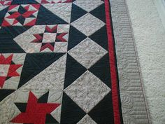 Tennessee Quilter: cool piping with the binding on her BOM quilt.