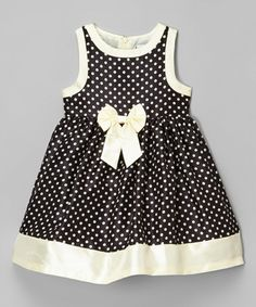 This Black & Cream Polka Dot Shantung Dress - Infant, Toddler & Girls is perfect! #zulilyfinds