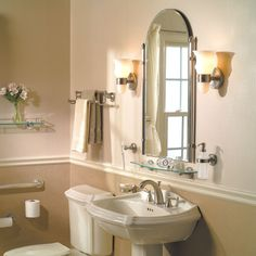 Ginger's CanterburyTM Collection in Polished Chrome (PC) includes bath accessories, lighting, grab bars and mirrors. -