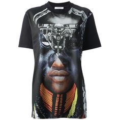 Givenchy Patchwork Portrait Tee ($408) ❤ liked on Polyvore featuring tops, t-shirts, all sale, kirna zabete, sale, loose fitting tops, cotton t shirt, graphic design tees, loose tops and cotton tee