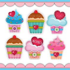 Digital Clip art Cupcakes with Love. Cute kitchen by InkFive