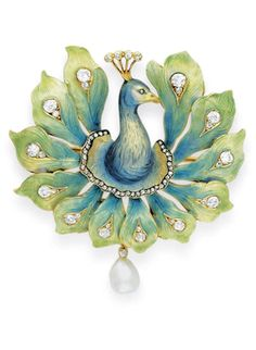 French Peacock brooch c. 1900 Enamel, diamond and pearl - The blue and gold enamel head and neck with a rose-cut diamond eye...