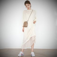 Muzly / Korea chic ghost horse girl ~ loose two-piece pure color hollow knitted dress + harness dress