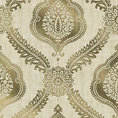 Sample Zoraya Gold Damask Wallpaper from the Alhambra Collection by Brewster Home Fashions