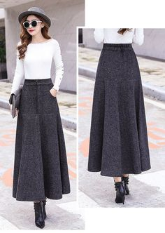That's a gown damaged within the relaxed method by using a calm best. Modest Outfits, Skirt Outfits, Modest Fashion, Skirt Fashion, Fashion Outfits, Long Wool Skirt, Wool Skirts, Winter Skirt Outfit, Vintage Skirt