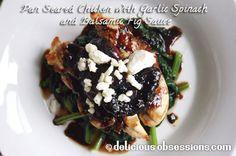 Pan+Seared+Chicken+with+Garlic+Spinach+and+Balsamic+Fig+Sauce+Recipe