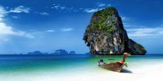 Photographic Print: Long Tail Boat on Tropical Beach with Limestone Rock, Krabi, Thailand by : Most Beautiful Beaches, Beautiful Places In The World, Amazing Places, Phuket, Bangkok, Tropical Island, Hotels, Beaches In The World, Thailand